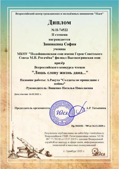 Зиновкина София